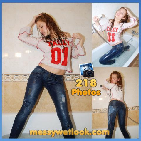 WETLOOK IN BLUE JEANS AND WHITE T-SHIRT IN THE SHOWER