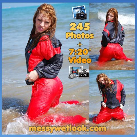 WETLOOK IN RED SHINY TRACKSUIT AT THE BEACH