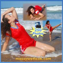 WETLOOK IN red NYLON SHORTS AND SOCCER T-SHIRT AT THE BEACH