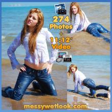 WETLOOK IN BLUE JEANS AND BLUE SHIRT AT THE BEACH