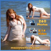 WETLOOK IN BEIGE DRESS AT THE BEACH