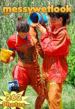 MUD PLAY IN RAIN CLOTHES AND SHINY NYLON SHORTS