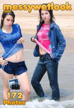 wetlook in blue shiny nylon shorts and jeans